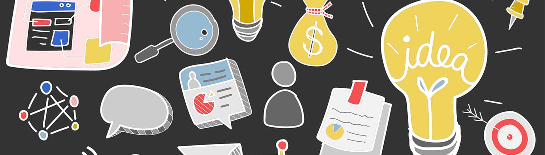 Illustrations variées de différentes sources d'idées